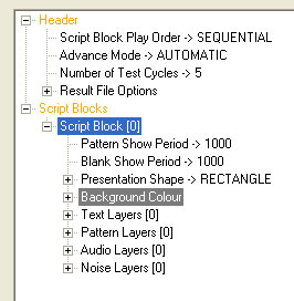 Default Script File Properties with the Script Block Selected